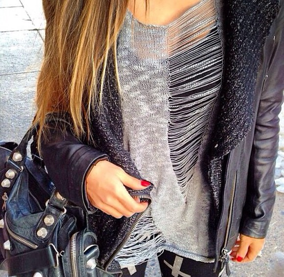 sweater grey sweater knit sweater cut offs cut off sweater