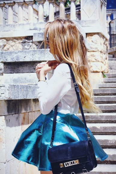 skirt metallic skirt electric blue skater skirt metallic leather leather look metallic teal teal skirt fashion blogger Pop Couture bag