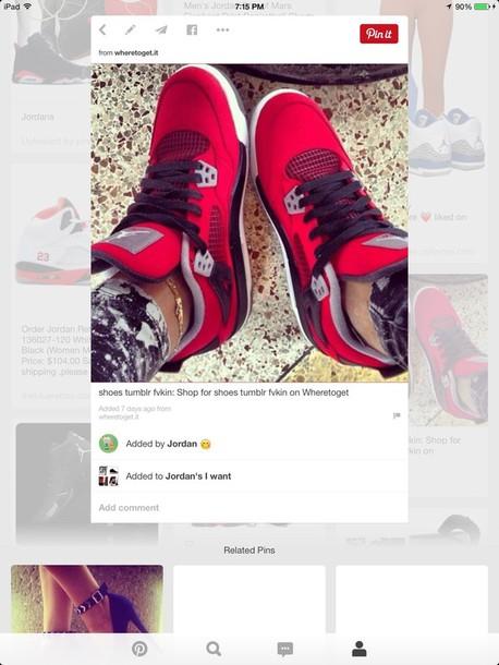 shoes black red jordans