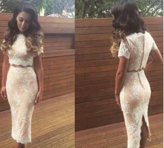 dress lace crop top lace dress white lace dress two piece dress set two-piece white lace skirt white crop tops white skirt