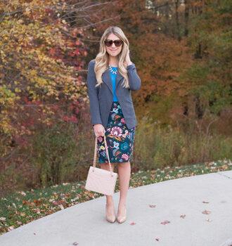 mixmatchfashion themix blogger jacket skirt shoes top bag jewels sunglasses blazer floral skirt nude bag nude heels high heel pumps