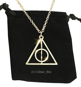 New Harry Potter Deathly Hallows Necklace Gift Bag Pendant Chain Gold Plated | eBay