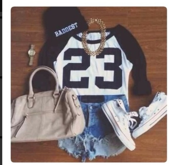shirt jordans cute t-shirt black white dope fashion jewlery bag badass stylish spring summer summer outfits spring outfits shorts high waisted shorts gold hat beanie watch converse converse chuck taylor denim high waisted denim shorts
