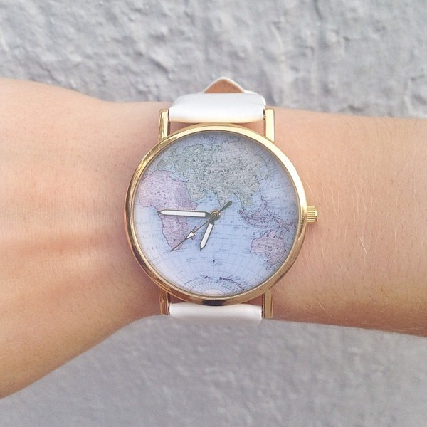 jewels watch map watch map print gold jewelry map world white leather accessories watch women world map world map watch style nail accessories word home accessory purple green pretty