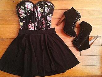 shirt black floral dress short dress skirt corset corset top boots heel boots shoes top floral top black floral strapless black floral shirt strapless top bustier high heels wood heel goth emo dark heels bralette
