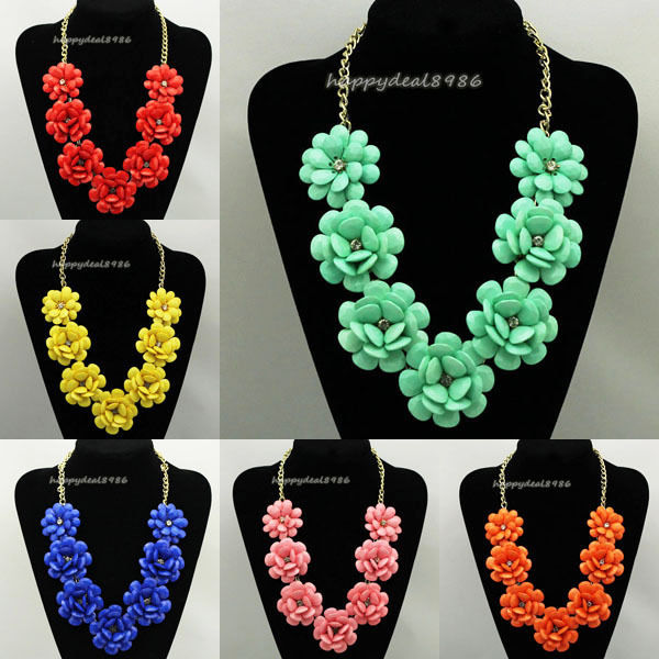 Golden Chain Resin Beads Rose Flower Rhinestone Bib Statement Necklace N62 | eBay