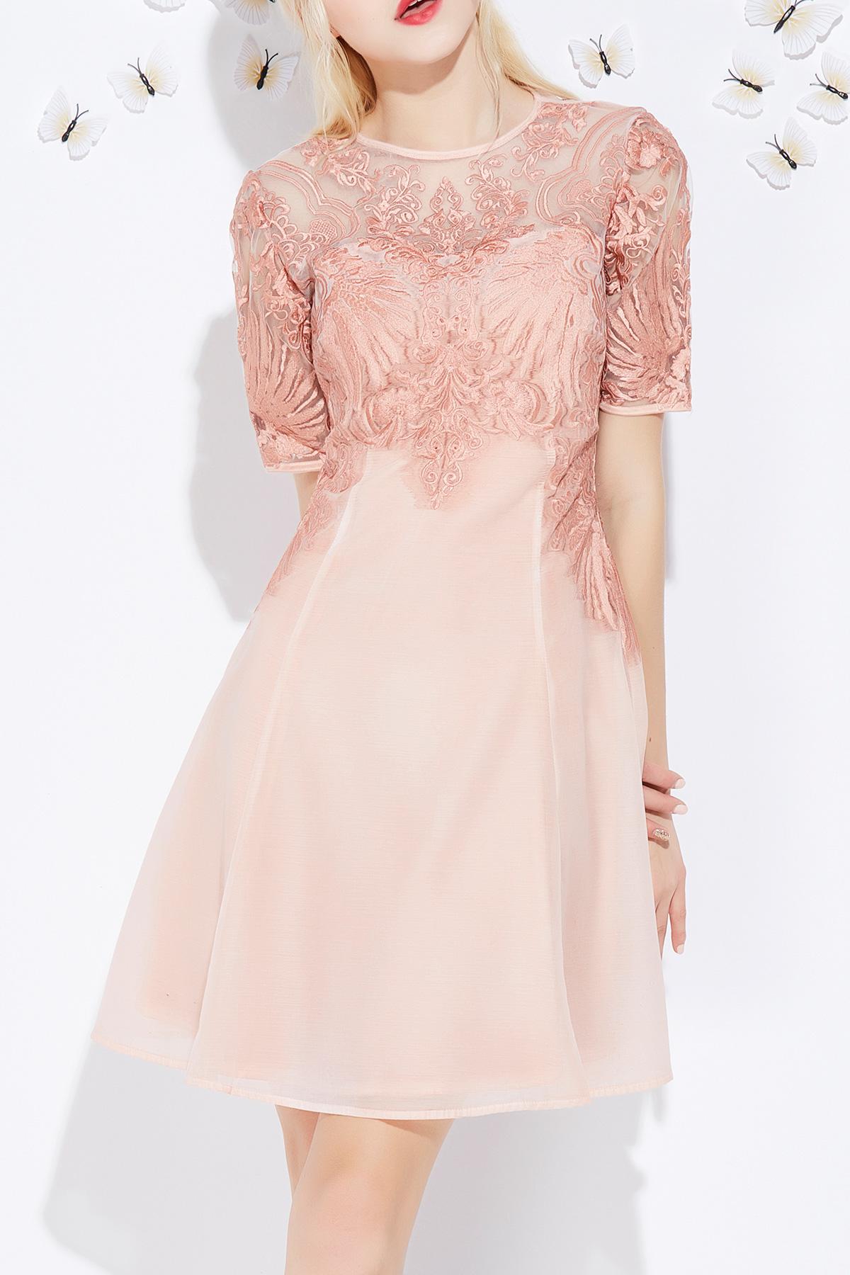 Embroidery Zipper Dress