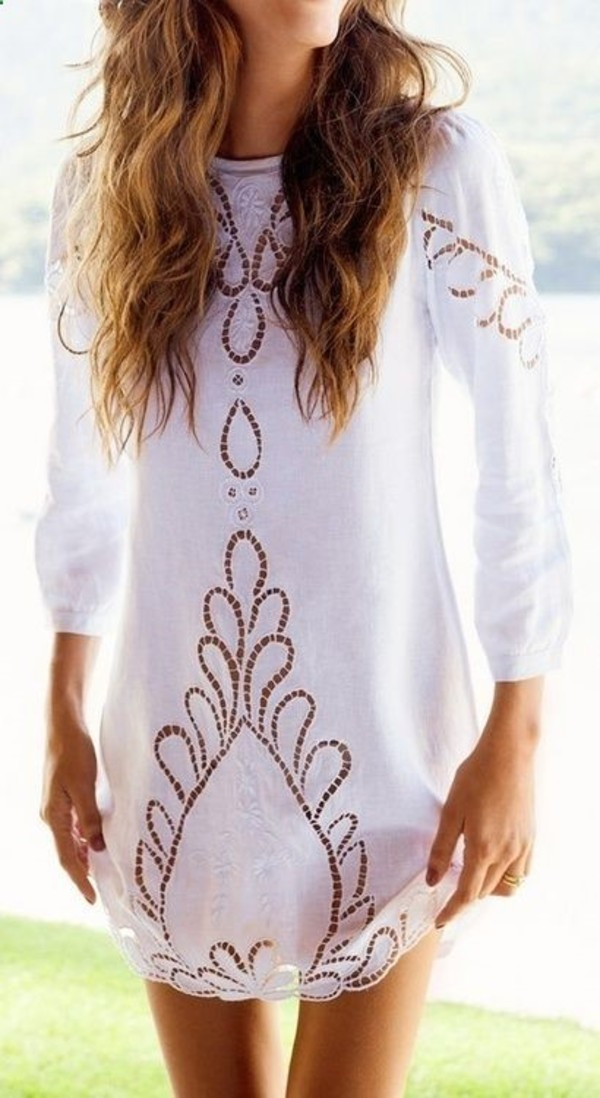 dress white lace long sleeves lace dress three-quarter sleeves