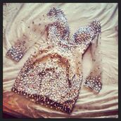 dress,gold,sparkle,formal dress,gemstone,gems,gems dress,sparkly dress,style,see through dress,nude dress,rhinestones,nude color dress,sexy dress,bodycon dress,bling dress,rhinestones dress,short dress,long sleeves,clothes,long sleeve dress,help find this