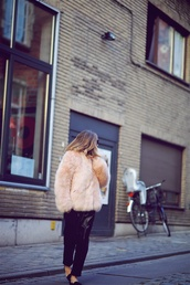 vasilieva,blogger,coat,pants,sunglasses,bag,beige fur jacket