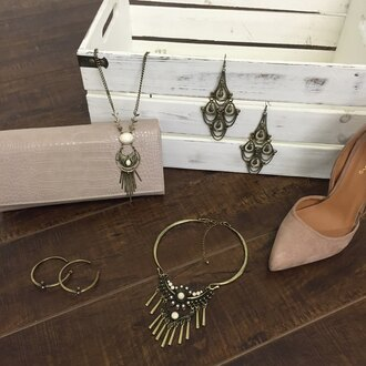 angl jewelry vintage suede shoes clutch nude heels