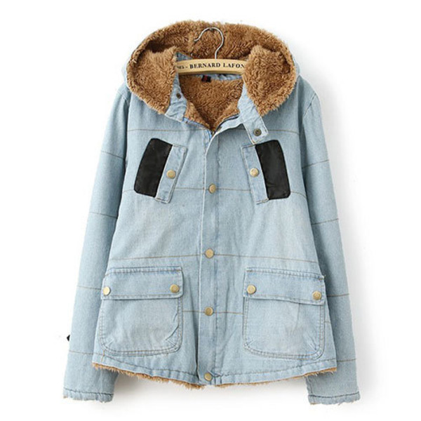 coat denim hood