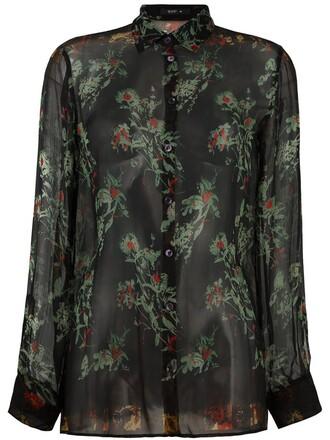 shirt sheer floral print black top