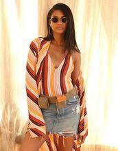 swimwear,stripes,colorful,chanel iman,denim,denim skirt,coat,sunglasses,instagram,mini skirt,robe