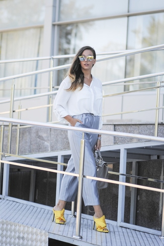 let's talk about fashion ! blogger shirt pajamas pants jewels sunglasses bag long sleeves wide-leg pants grey pants yellow shoes