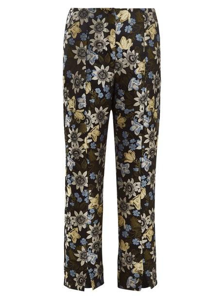 Erdem cropped jacquard floral black pants