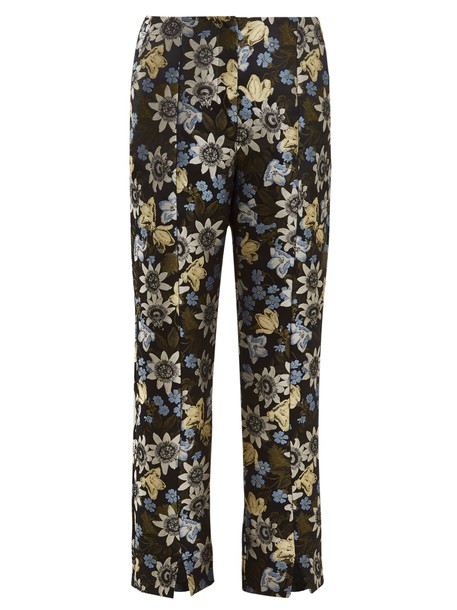 cropped jacquard floral black pants