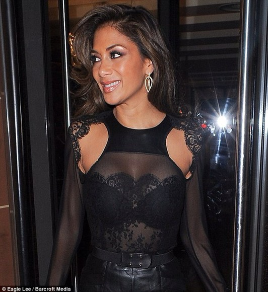 blouse nicole scherzinger black blouse leather cut out shoulders