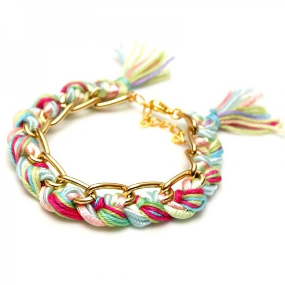 bracelet braid fashion jewels friendship boho bracelet bff best friends girl pink pastel boho style
