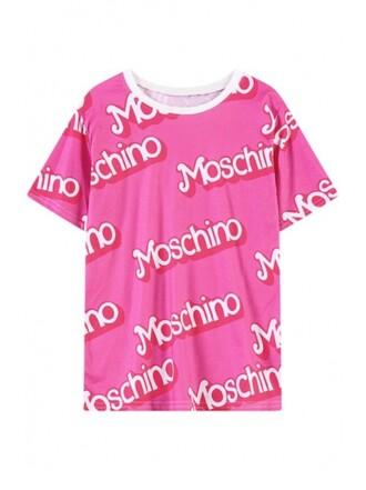 t-shirt girl cute pink white short sleeve girly girly wishlist moschino moschino shirt