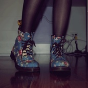 shoes,boots,floral,blue,laces,flowers