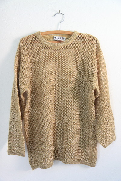 Slouchy Metallic Gold Loose Knit Mesh Sweater by Castleinair ...