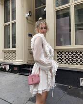 dress,mini dress,ruffle dress,long sleeve dress,shoulder bag,earrings