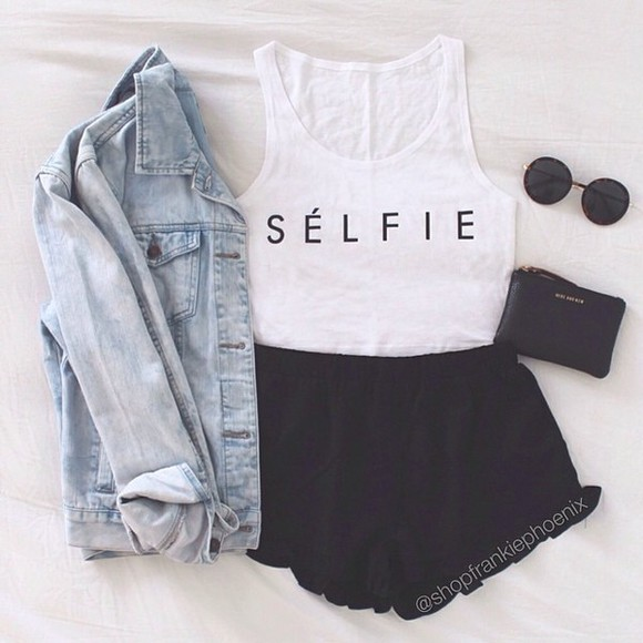 white top jacket sunglasses white tee shorts t-shirt black color beauty live life laugh like beautiful t-shirt round sunglasses clutch shirt quote on it selfie bag tank top denim, light blue buttons denim denim jacket selfie top crop tops