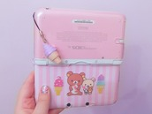 phone cover,ds,pink,kawaii
