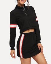 skirt,girly,girl,crop,girly wishlist,two-piece,cropped,crop tops,black,white,red,zip,matching set