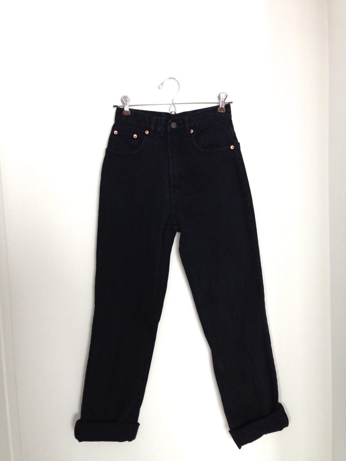 best sell hot sale luxury Vintage Levi's 501 High-Waisted Jeans / Straight Leg / Vtg Black Boyfriend  Jeans / Waist 27 / 1990s