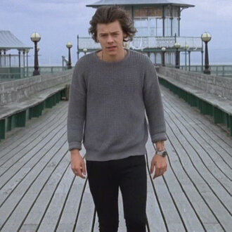 sweater harry styles grey sweater one direction you and i song