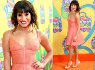 lea michele lea michele pretty in pink short low cut straps glee red carpet dress