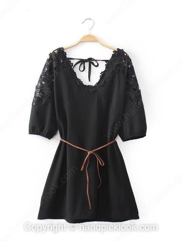 chiffon dress short dress black dress