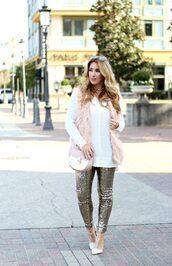 januaryhart,blogger,sweater,jacket,leggings,shoes,bag,jewels,vest,fur vest,shoulder bag,sequin pants,high heel pumps
