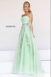 dress,ball gown dress,mint green ball dress,green long formal dress