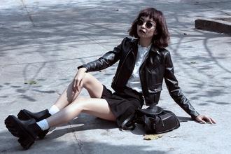 bloody rosess blogger soft grunge mini skirt pleated skirt chunky boots