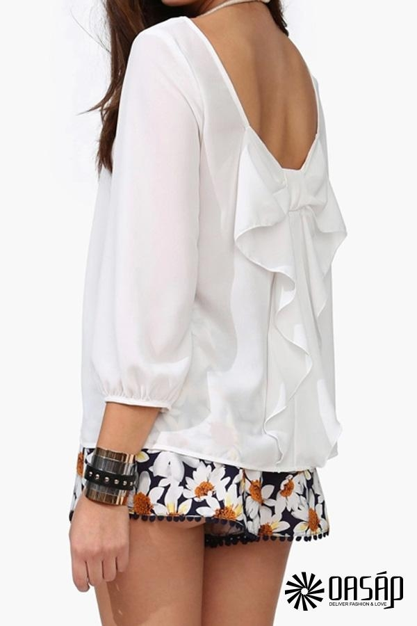 Bowknot Open Back Blouse - OASAP.com