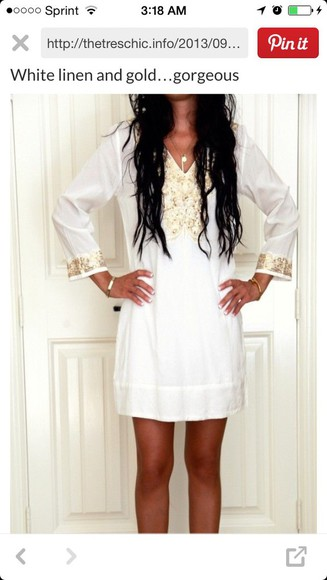 dress white dress linen dress white linen gold white and gold