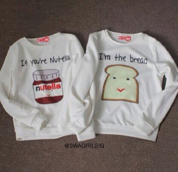 sweater sweater nutella toast nutella crewneck sweater clothes nuttella white bread sweatshirt two bff bag shirt t-shirt bff cute friendship belt white cute couple sweet sexy hoodie breakfast matching set t-shirt nutella shirt freshtops cute top bff jumper best friends top friendship shirt jacket top blouse white blouse couple sweaters skirt bff sweaters couple sweaters food white nuttella and bread best friend shirts bff love bff cool soulmate fashion weheartit couples shirts soulmate shirts white sweater couple funny matchin lovely lovely grey beautiful blouse pajamas summer top white t-shirt sweaters cute print food yum two-piece jumpsuit sweater kawaii sweater pullover nutella and bread matching couples