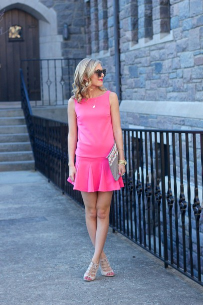 life with emily blogger sunglasses pink dress pouch dress shoes bag jewels