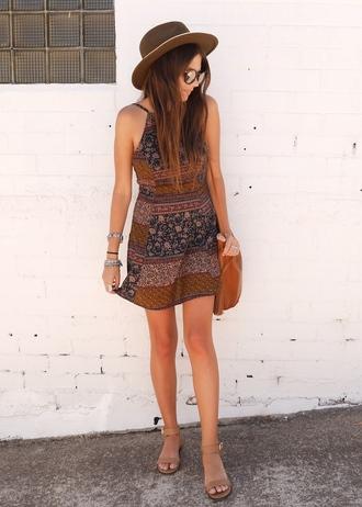 spin dizzy fall blogger dress hat bag sandals boho