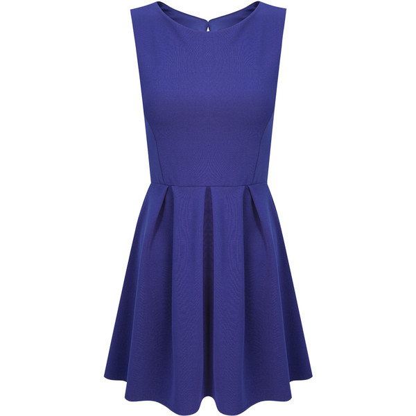 Dressrail.com - Pleated Skater Dress-Navy Blue - Polyvore