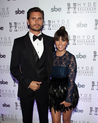 dress scott disick kourtney kardashian skirt feathers black