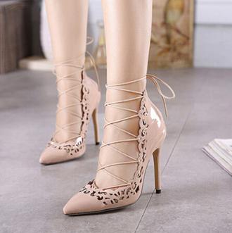 shoes rose wholesale lace up nude heels classy fashion stylish cream