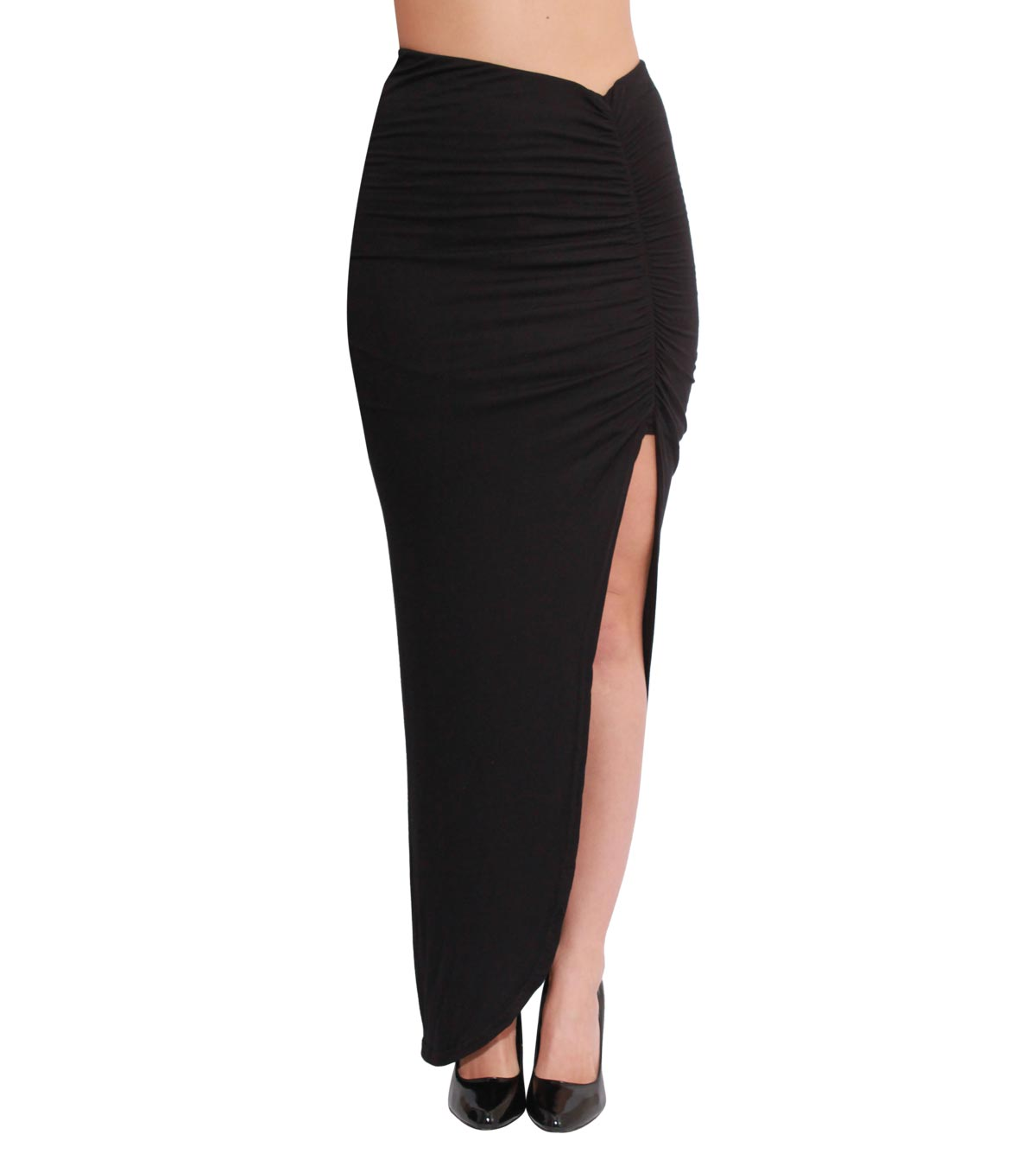 Long Skirt - Black Ruched Side Split Maxi | UsTrendy