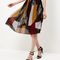 Burgundy patchwork pleated midi skirt