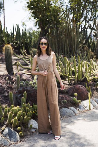 louise roe blogger pants shoes sunglasses nude top wide-leg pants high waisted flats