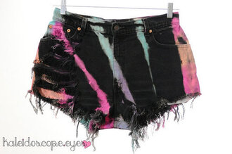 shorts black tie dye colorful multicolor denim