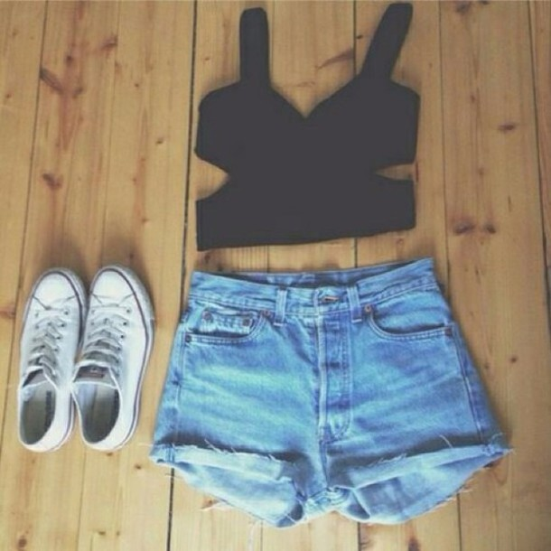 shirt black crop top
